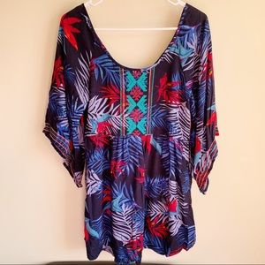 Roxy Embroidered Floral Tunic Blouse Coverup
